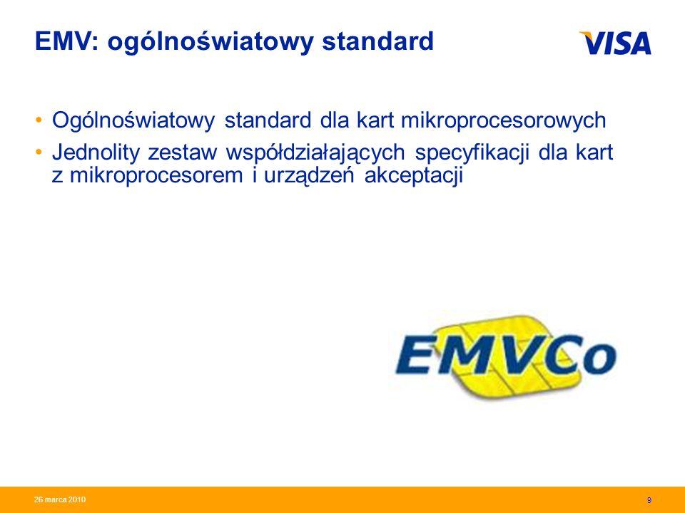 Presentation Identifier.10 Information Classification as Needed 10 26 marca 2010 EMV: ogólnoświatowy standard Korzyści: –wysoki poziom bezpieczeństwa –możliwość obsługi transakcji off-line –możliwość wdrażania dodatkowych funkcjonalności karty zbliżeniowe Visa payWave karty dwa w jednym (debetowa i kredytowa) karty generujące jednorazowe kody (Visa CodeSure) płatności mobilne 10