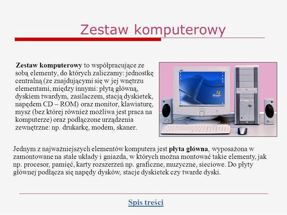 Zestaw komputerowy Zestaw komputerowy to współpracujące ze sobą elementy, do których zaliczamy: jednostkę centralną (ze znajdującymi się w jej wnętrzu