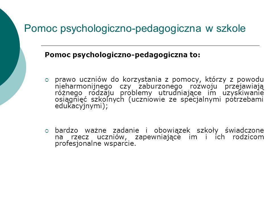 Pomoc psychologiczno-pedagogiczna w szkole Pomoc psychologiczno-pedagogiczna to: prawo uczniów do korzystania z pomocy, którzy z powodu nieharmonijneg