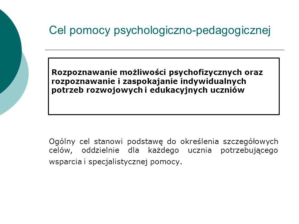 Cel pomocy psychologiczno-pedagogicznej Ogólny cel stanowi podstawę do określenia szczegółowych celów, oddzielnie dla każdego ucznia potrzebującego ws