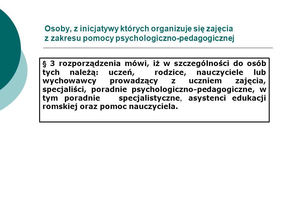 Osoby, z inicjatywy których organizuje się zajęcia z zakresu pomocy psychologiczno-pedagogicznej § 3 rozporządzenia mówi, iż w szczególności do osób t
