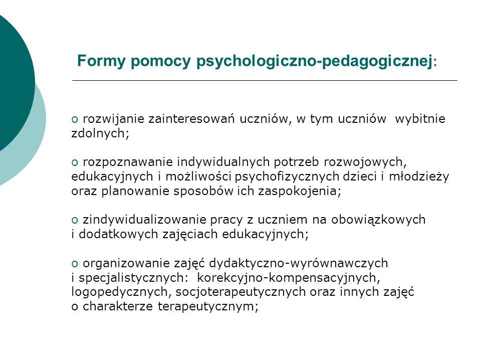 Formy pomocy psychologiczno-pedagogicznej : o rozwijanie zainteresowań uczniów, w tym uczniów wybitnie zdolnych; o rozpoznawanie indywidualnych potrze