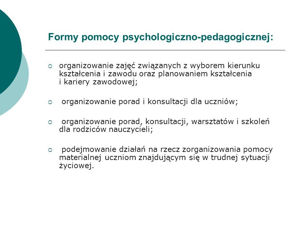 Formy pomocy psychologiczno-pedagogicznej: organizowanie zajęć związanych z wyborem kierunku kształcenia i zawodu oraz planowaniem kształcenia i karie