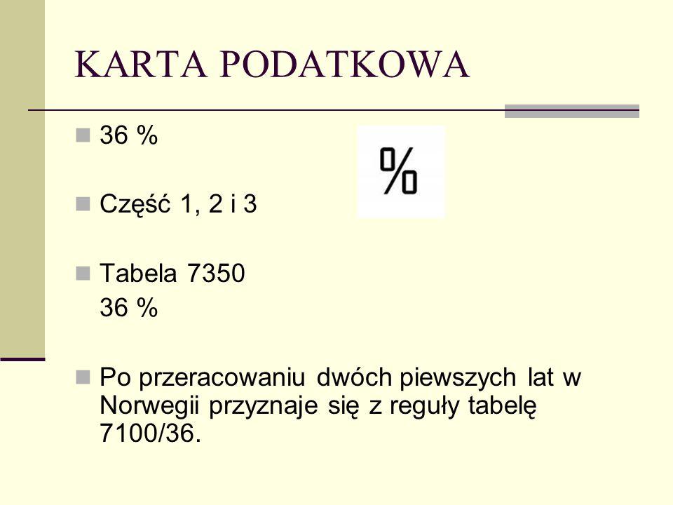 KARTA PODATKOWA 36 % Część 1, 2 i 3 Tabela 7350 36 % Po przeracowaniu dwóch piewszych lat w Norwegii przyznaje się z reguły tabelę 7100/36.