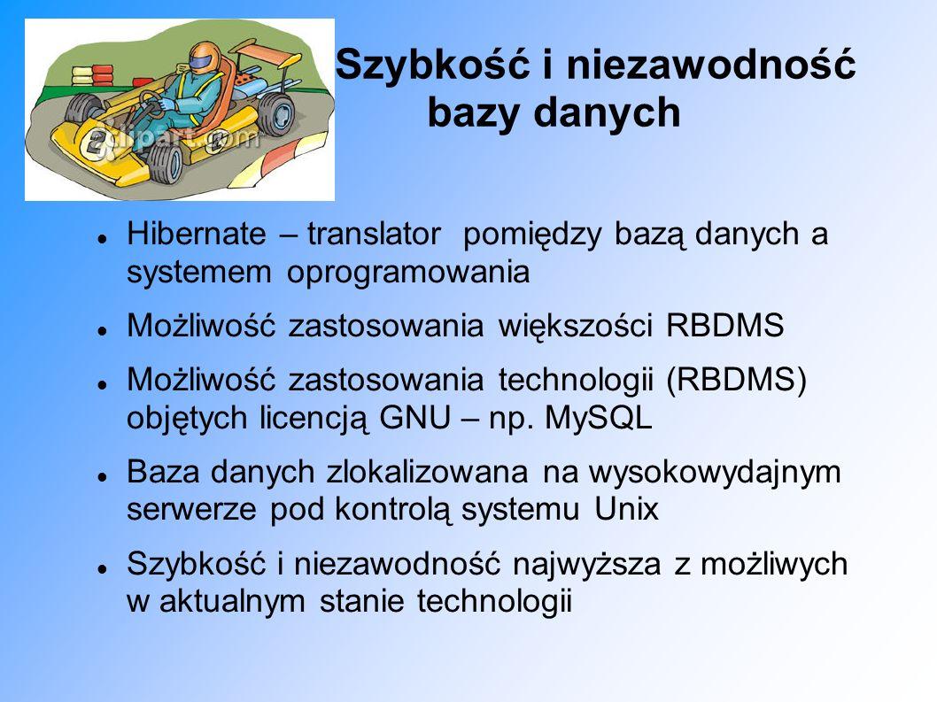 Szybkość i niezawodność bazy danych Hibernate – translator pomiędzy bazą danych a systemem oprogramowania Możliwość zastosowania większości RBDMS Możl