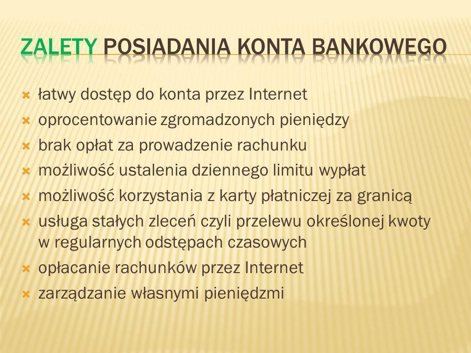 łatwy dostęp do konta przez Internet oprocentowanie zgromadzonych pieniędzy brak opłat za prowadzenie rachunku możliwość ustalenia dziennego limitu wypłat możliwość korzystania z karty płatniczej za granicą usługa stałych zleceń czyli przelewu określonej kwoty w regularnych odstępach czasowych opłacanie rachunków przez Internet zarządzanie własnymi pieniędzmi
