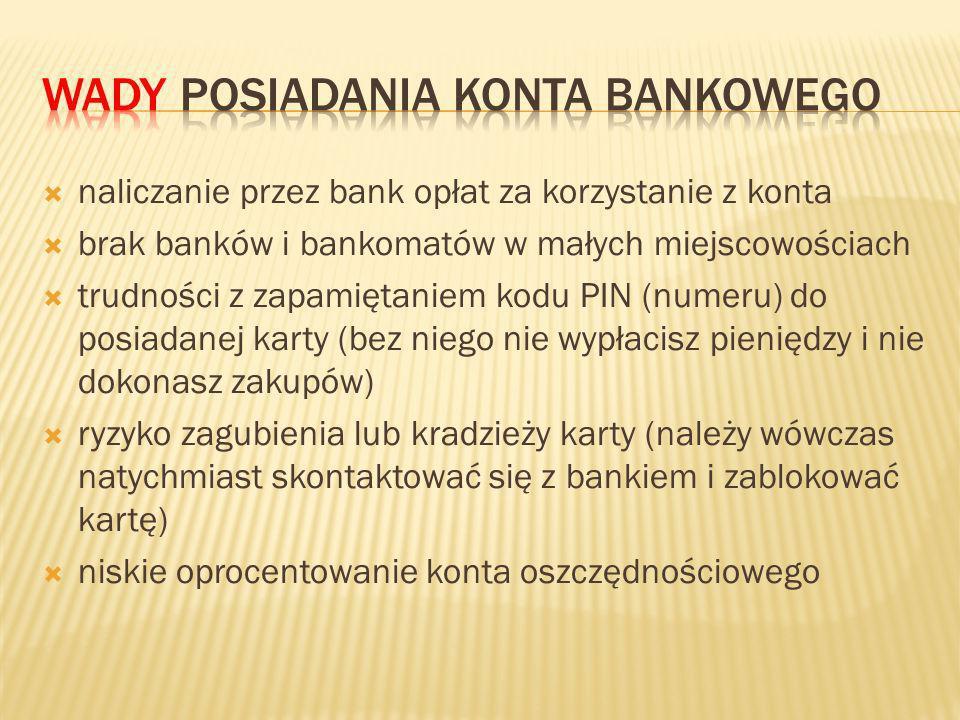 naliczanie przez bank opłat za korzystanie z konta brak banków i bankomatów w małych miejscowościach trudności z zapamiętaniem kodu PIN (numeru) do posiadanej karty (bez niego nie wypłacisz pieniędzy i nie dokonasz zakupów) ryzyko zagubienia lub kradzieży karty (należy wówczas natychmiast skontaktować się z bankiem i zablokować kartę) niskie oprocentowanie konta oszczędnościowego