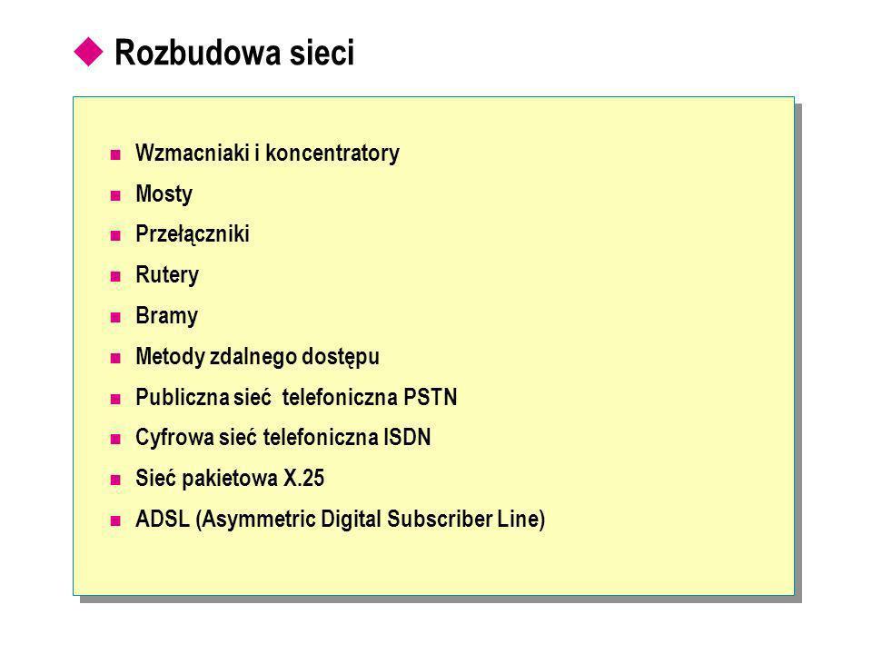Rozbudowa sieci Wzmacniaki i koncentratory Mosty Przełączniki Rutery Bramy Metody zdalnego dostępu Publiczna sieć telefoniczna PSTN Cyfrowa sieć telefoniczna ISDN Sieć pakietowa X.25 ADSL (Asymmetric Digital Subscriber Line)