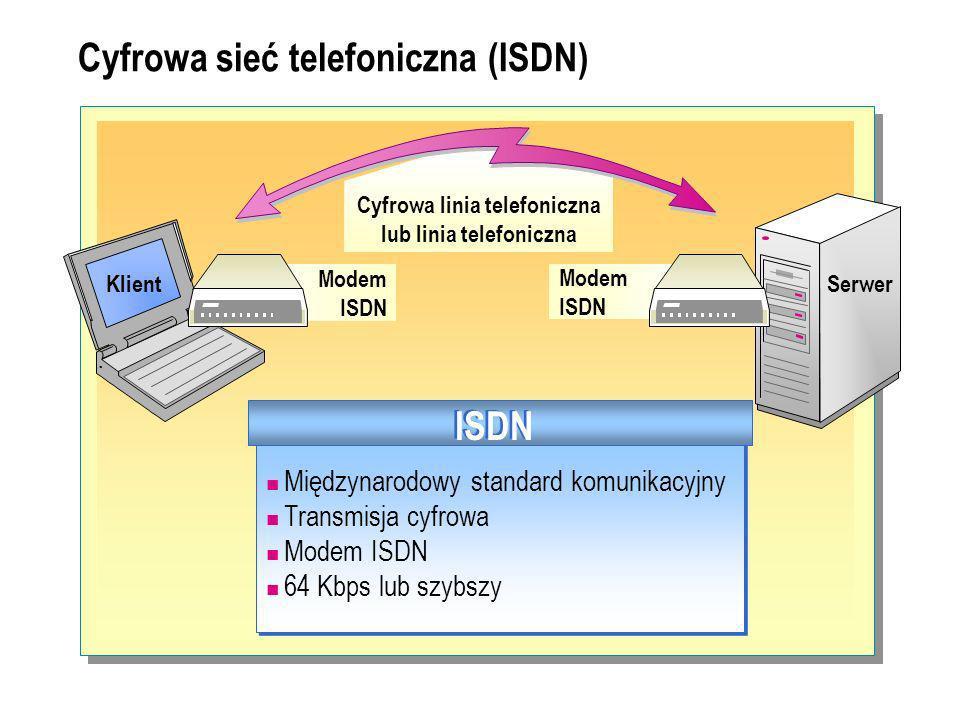 Cyfrowa sieć telefoniczna (ISDN) Modem ISDN Modem ISDN Międzynarodowy standard komunikacyjny Transmisja cyfrowa Modem ISDN 64 Kbps lub szybszy Międzynarodowy standard komunikacyjny Transmisja cyfrowa Modem ISDN 64 Kbps lub szybszy ISDN Cyfrowa linia telefoniczna lub linia telefoniczna KlientSerwer