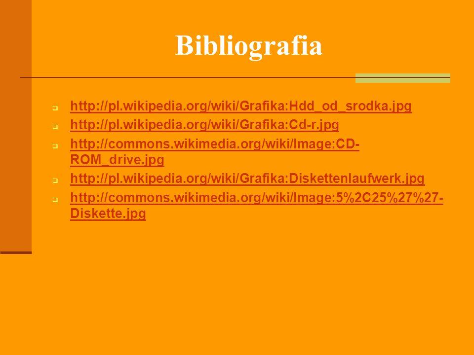 Bibliografia http://pl.wikipedia.org/wiki/Grafika:Hdd_od_srodka.jpg http://pl.wikipedia.org/wiki/Grafika:Cd-r.jpg http://commons.wikimedia.org/wiki/Im