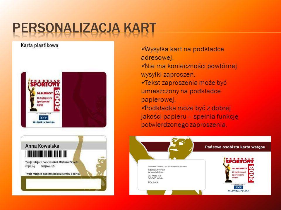 Wysyłka kart na podkładce adresowej. Nie ma konieczności powtórnej wysyłki zaproszeń. Tekst zaproszenia może być umieszczony na podkładce papierowej.