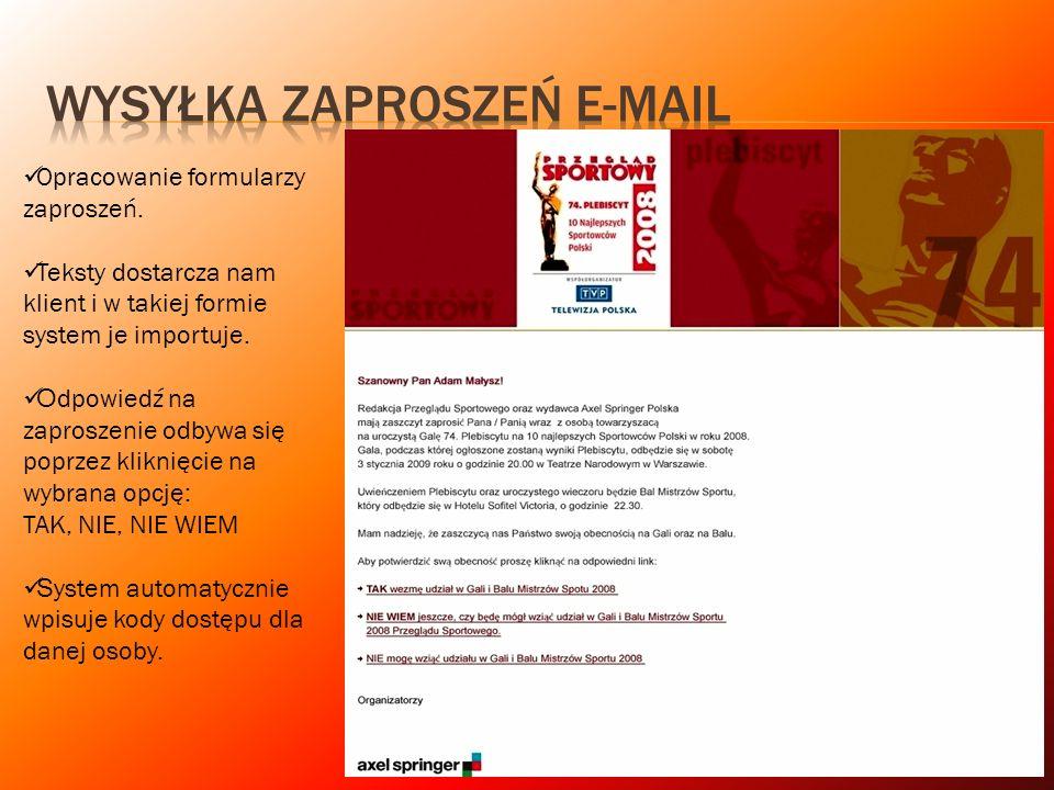 Opracowanie formularzy zaproszeń. Teksty dostarcza nam klient i w takiej formie system je importuje. O dpowiedź na zaproszenie odbywa się poprzez klik