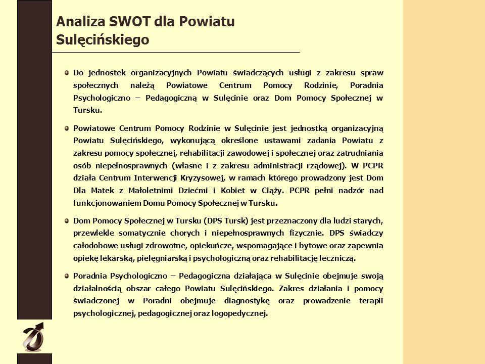 Do jednostek organizacyjnych Powiatu świadczących usługi z zakresu spraw społecznych należą Powiatowe Centrum Pomocy Rodzinie, Poradnia Psychologiczno – Pedagogiczną w Sulęcinie oraz Dom Pomocy Społecznej w Tursku.