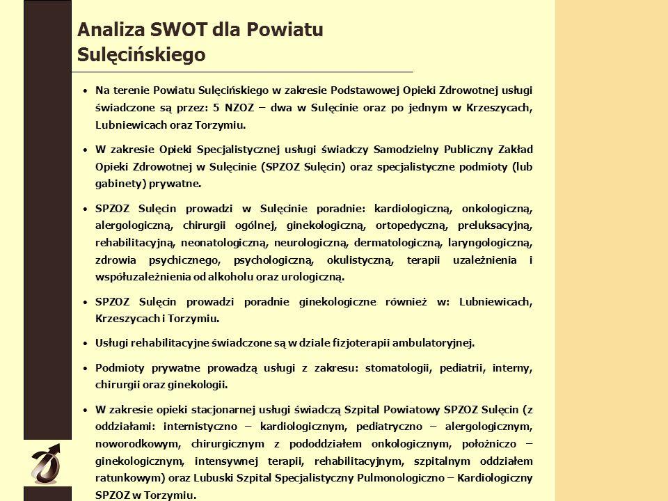 Na terenie Powiatu Sulęcińskiego w zakresie Podstawowej Opieki Zdrowotnej usługi świadczone są przez: 5 NZOZ – dwa w Sulęcinie oraz po jednym w Krzeszycach, Lubniewicach oraz Torzymiu.