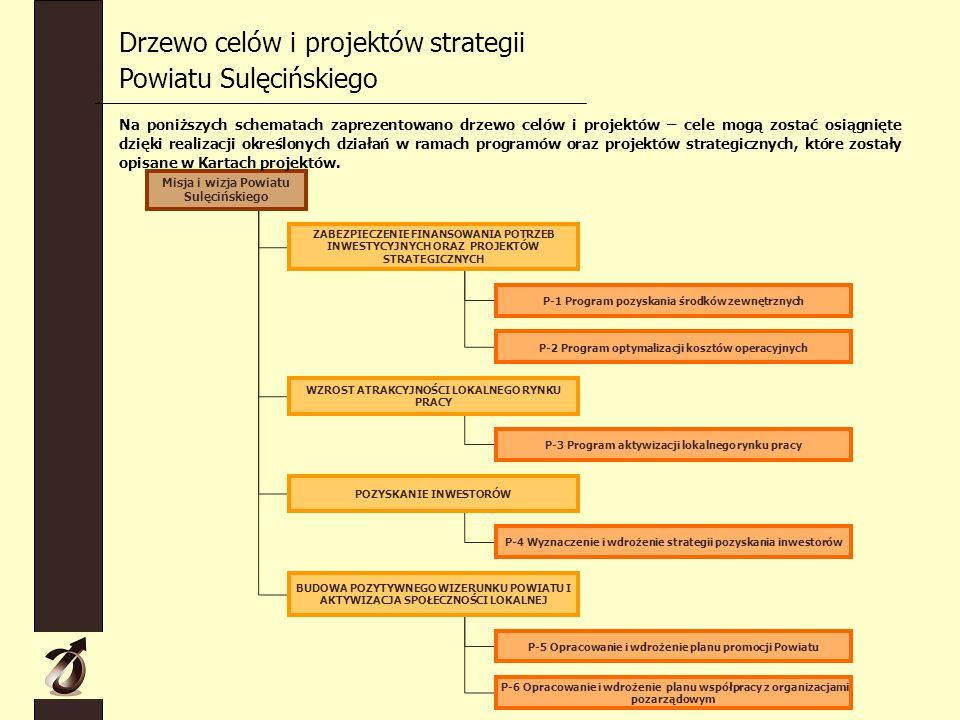Drzewo celów i projektów strategii Powiatu Sulęcińskiego Misja i wizja Powiatu Sulęcińskiego ZABEZPIECZENIE FINANSOWANIA POTRZEB INWESTYCYJNYCH ORAZ PROJEKTÓW STRATEGICZNYCH WZROST ATRAKCYJNOŚCI LOKALNEGO RYNKU PRACY POZYSKANIE INWESTORÓW BUDOWA POZYTYWNEGO WIZERUNKU POWIATU I AKTYWIZACJA SPOŁECZNOŚCI LOKALNEJ P-1 Program pozyskania środków zewnętrznych P-2 Program optymalizacji kosztów operacyjnych P-3 Program aktywizacji lokalnego rynku pracy P-4 Wyznaczenie i wdrożenie strategii pozyskania inwestorów P-5 Opracowanie i wdrożenie planu promocji Powiatu P-6 Opracowanie i wdrożenie planu współpracy z organizacjami pozarządowym Na poniższych schematach zaprezentowano drzewo celów i projektów – cele mogą zostać osiągnięte dzięki realizacji określonych działań w ramach programów oraz projektów strategicznych, które zostały opisane w Kartach projektów.