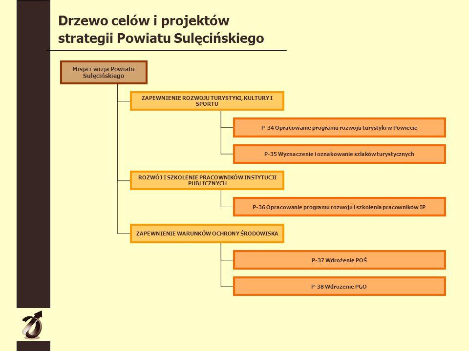 Misja i wizja Powiatu Sulęcińskiego ZAPEWNIENIE ROZWOJU TURYSTYKI, KULTURY I SPORTU ROZWÓJ I SZKOLENIE PRACOWNIKÓW INSTYTUCJI PUBLICZNYCH ZAPEWNIENIE WARUNKÓW OCHRONY ŚRODOWISKA P-34 Opracowanie programu rozwoju turystyki w Powiecie P-35 Wyznaczenie i oznakowanie szlaków turystycznych P-36 Opracowanie programu rozwoju i szkolenia pracowników IP P-37 Wdrożenie POŚ P-38 Wdrożenie PGO Drzewo celów i projektów strategii Powiatu Sulęcińskiego