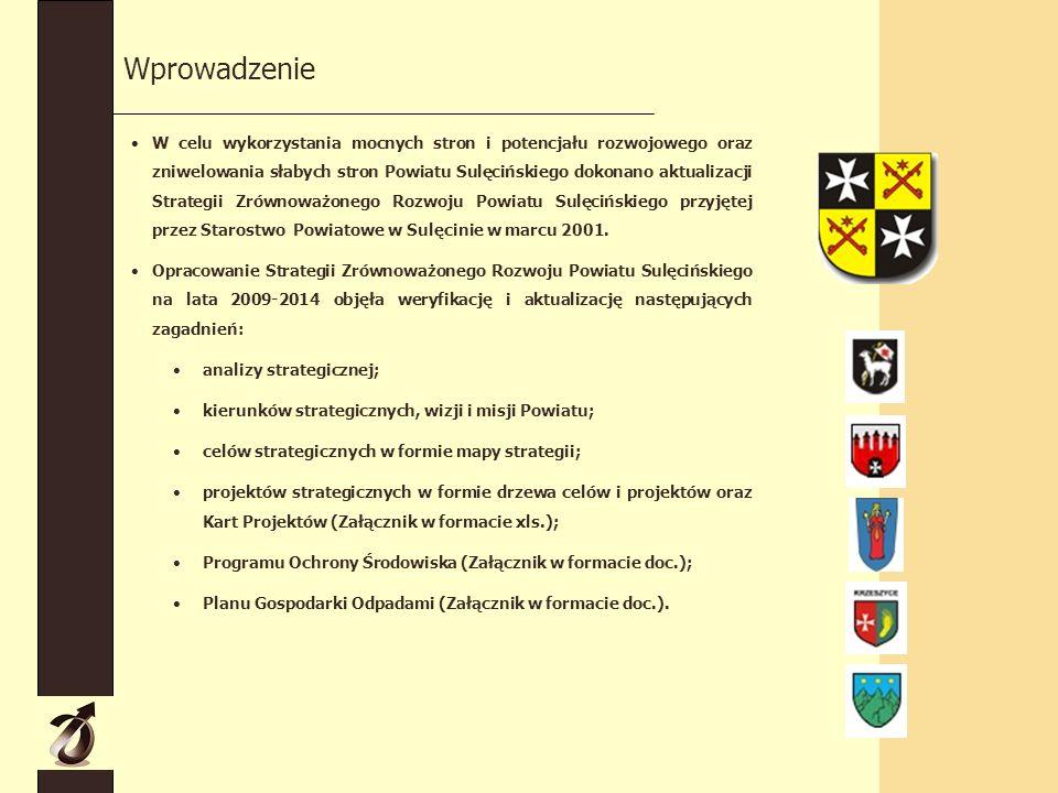 Wprowadzenie W celu wykorzystania mocnych stron i potencjału rozwojowego oraz zniwelowania słabych stron Powiatu Sulęcińskiego dokonano aktualizacji Strategii Zrównoważonego Rozwoju Powiatu Sulęcińskiego przyjętej przez Starostwo Powiatowe w Sulęcinie w marcu 2001.