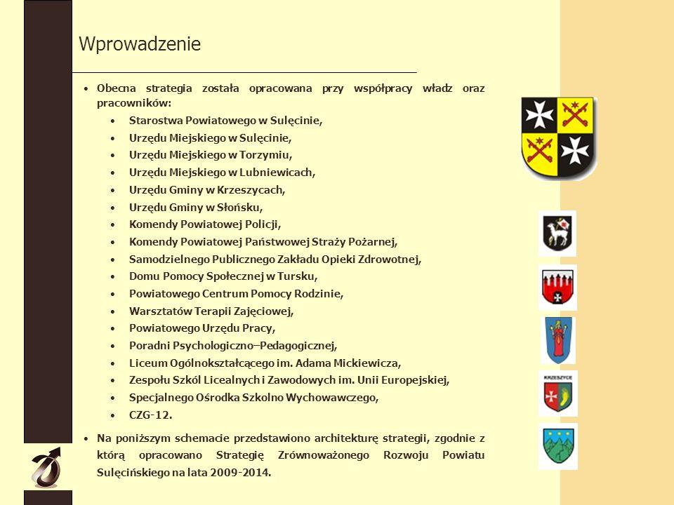 Wprowadzenie Obecna strategia została opracowana przy współpracy władz oraz pracowników: Starostwa Powiatowego w Sulęcinie, Urzędu Miejskiego w Sulęcinie, Urzędu Miejskiego w Torzymiu, Urzędu Miejskiego w Lubniewicach, Urzędu Gminy w Krzeszycach, Urzędu Gminy w Słońsku, Komendy Powiatowej Policji, Komendy Powiatowej Państwowej Straży Pożarnej, Samodzielnego Publicznego Zakładu Opieki Zdrowotnej, Domu Pomocy Społecznej w Tursku, Powiatowego Centrum Pomocy Rodzinie, Warsztatów Terapii Zajęciowej, Powiatowego Urzędu Pracy, Poradni Psychologiczno–Pedagogicznej, Liceum Ogólnokształcącego im.