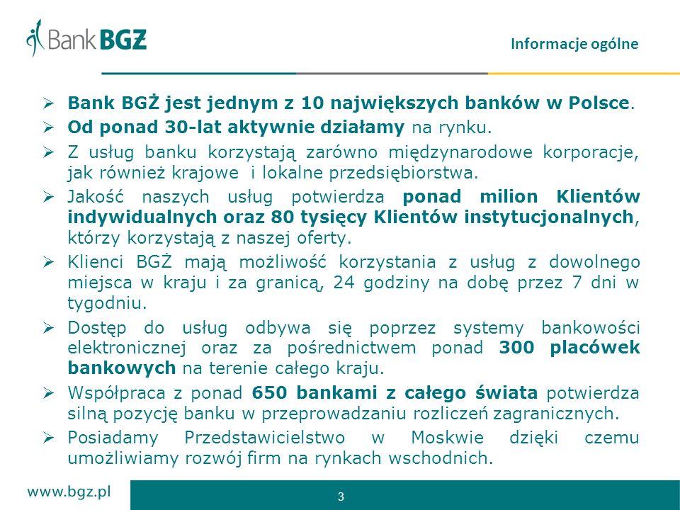 3 Informacje ogólne Bank BGŻ jest jednym z 10 największych banków w Polsce. Od ponad 30-lat aktywnie działamy na rynku. Z usług banku korzystają zarów