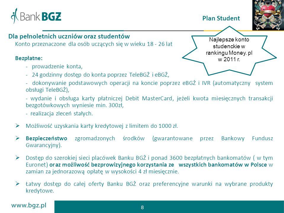 8 Plan Student Konto przeznaczone dla osób uczących się w wieku 18 - 26 lat Bezpłatne: - prowadzenie konta, - 24 godzinny dostęp do konta poprzez Tele