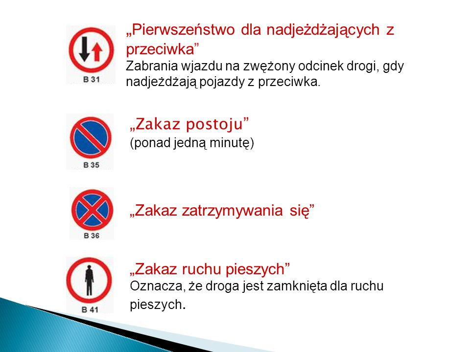 Pierwszeństwo dla nadjeżdżających z przeciwka Zabrania wjazdu na zwężony odcinek drogi, gdy nadjeżdżają pojazdy z przeciwka. Zakaz postoju (ponad jedn