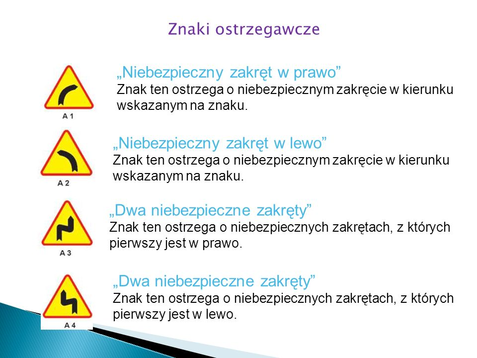 Niebezpieczny zakręt w prawo Znak ten ostrzega o niebezpiecznym zakręcie w kierunku wskazanym na znaku. Niebezpieczny zakręt w lewo Znak ten ostrzega