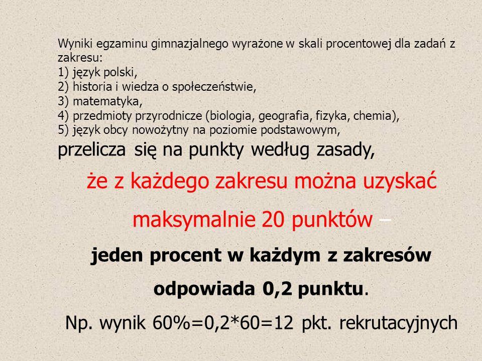 Wyniki egzaminu gimnazjalnego wyrażone w skali procentowej dla zadań z zakresu: 1) język polski, 2) historia i wiedza o społeczeństwie, 3) matematyka, 4) przedmioty przyrodnicze (biologia, geografia, fizyka, chemia), 5) język obcy nowożytny na poziomie podstawowym, przelicza się na punkty według zasady, że z każdego zakresu można uzyskać maksymalnie 20 punktów – jeden procent w każdym z zakresów odpowiada 0,2 punktu.