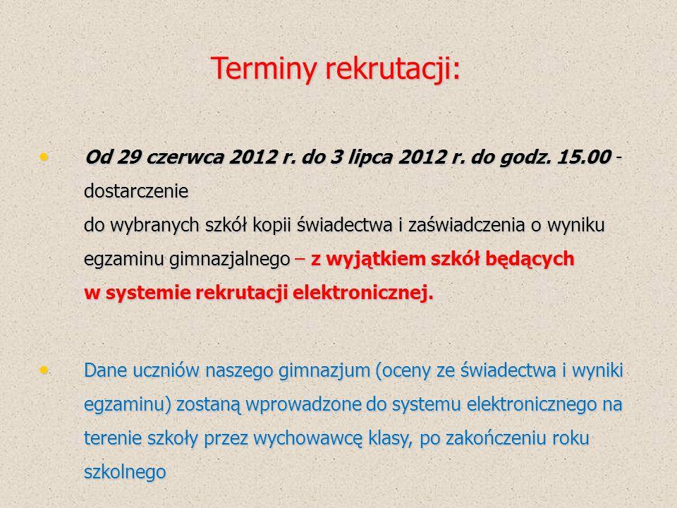 Terminy rekrutacji 5 lipca 2012 r.godz.