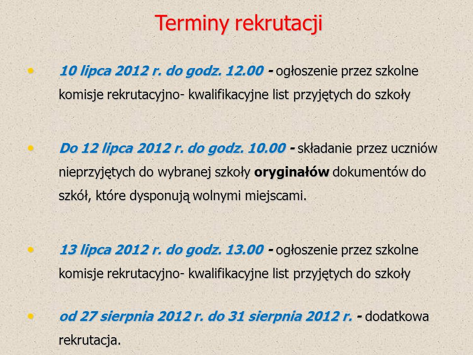 Zadania Gimnazjum Wydrukowanie dla uczniów podania o przyjęcie do szkoły oraz kwestionariusza - załącznik 1 do 7 maja Wydrukowanie dla uczniów podania o przyjęcie do szkoły oraz kwestionariusza - załącznik 1 do 7 maja Od 7 maja 2012 r.