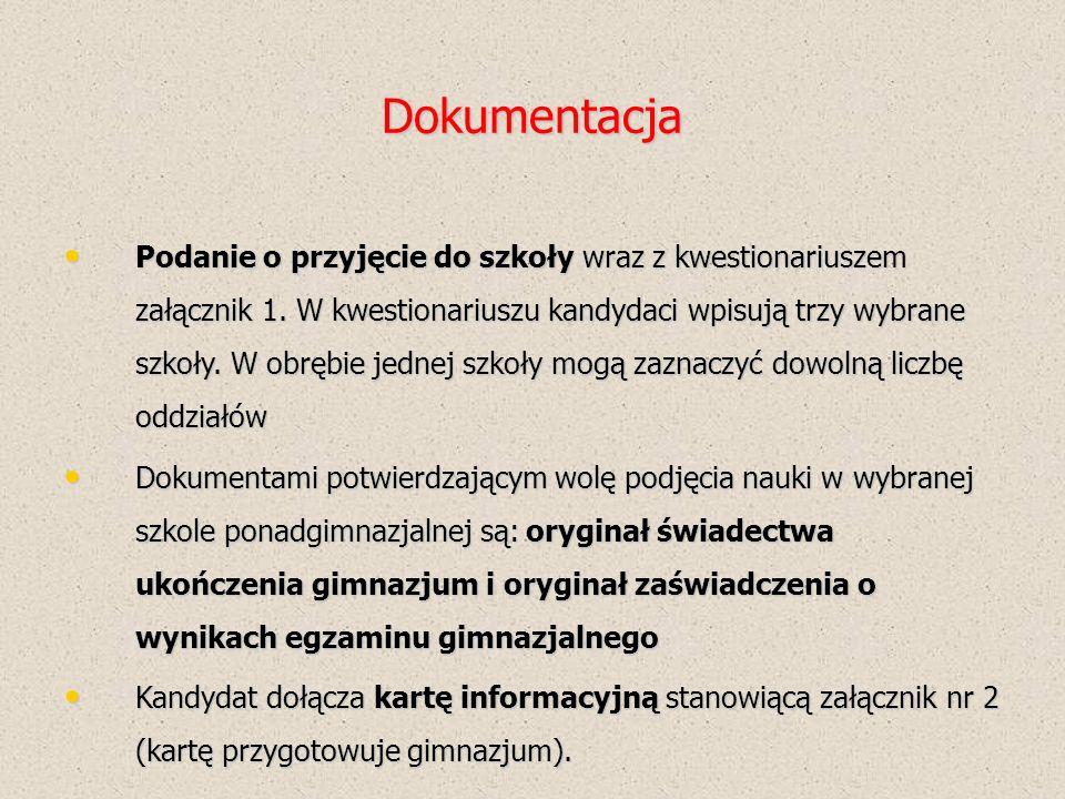 Dokumentacja Podanie o przyjęcie do szkoły wraz z kwestionariuszem załącznik 1.