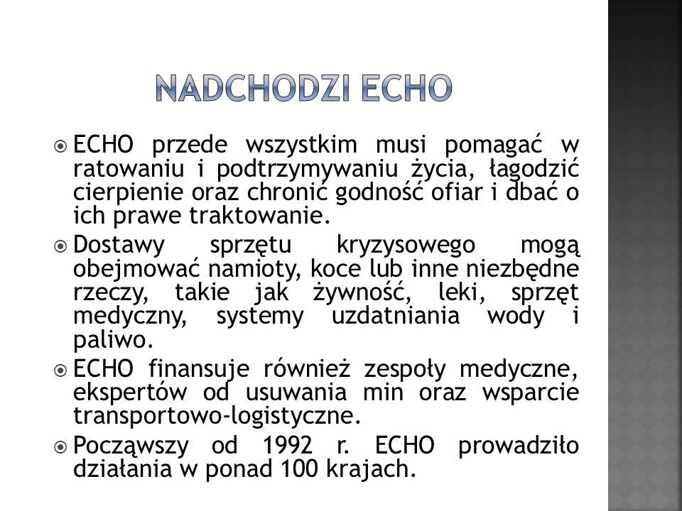 ECHO przede wszystkim musi pomagać w ratowaniu i podtrzymywaniu życia, łagodzić cierpienie oraz chronić godność ofiar i dbać o ich prawe traktowanie.