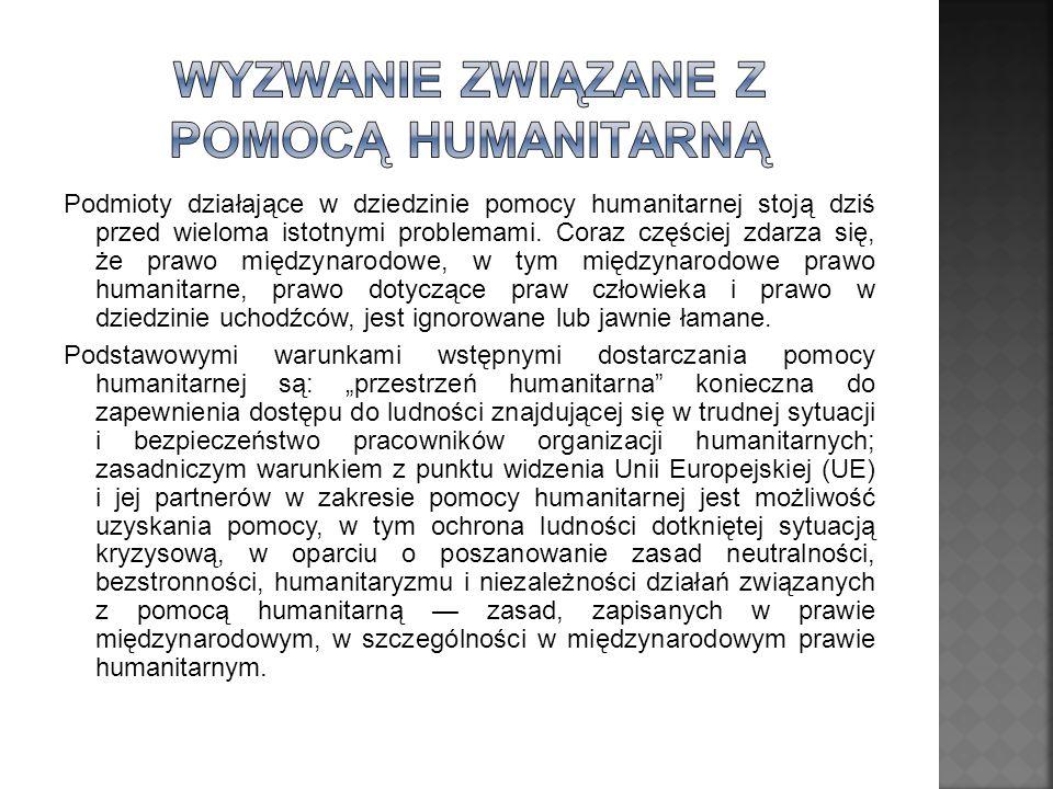 Podmioty działające w dziedzinie pomocy humanitarnej stoją dziś przed wieloma istotnymi problemami. Coraz częściej zdarza się, że prawo międzynarodowe