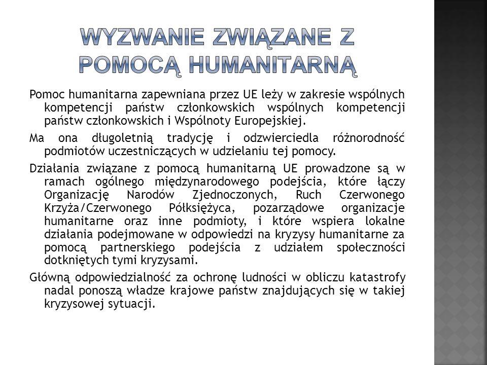 Pomoc humanitarna zapewniana przez UE leży w zakresie wspólnych kompetencji państw członkowskich wspólnych kompetencji państw członkowskich i Wspólnoty Europejskiej.