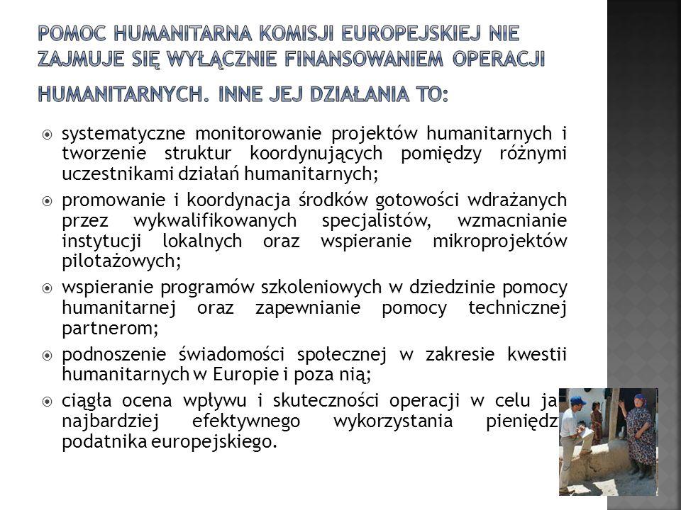 systematyczne monitorowanie projektów humanitarnych i tworzenie struktur koordynujących pomiędzy różnymi uczestnikami działań humanitarnych; promowani
