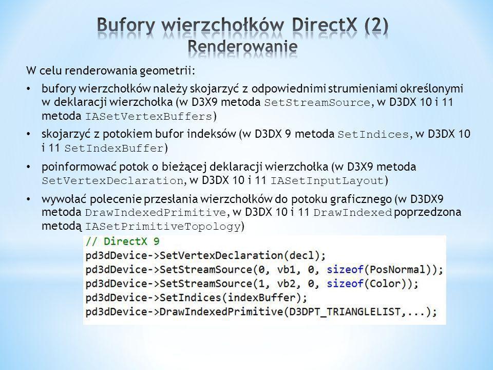 W celu renderowania geometrii: bufory wierzchołków należy skojarzyć z odpowiednimi strumieniami określonymi w deklaracji wierzchołka (w D3X9 metoda SetStreamSource, w D3DX 10 i 11 metoda IASetVertexBuffers ) skojarzyć z potokiem bufor indeksów (w D3DX 9 metoda SetIndices, w D3DX 10 i 11 SetIndexBuffer ) poinformować potok o bieżącej deklaracji wierzchołka (w D3X9 metoda SetVertexDeclaration, w D3DX 10 i 11 IASetInputLayout ) wywołać polecenie przesłania wierzchołków do potoku graficznego (w D3DX9 metoda DrawIndexedPrimitive, w D3DX 10 i 11 DrawIndexed poprzedzona metodą IASetPrimitiveTopology )
