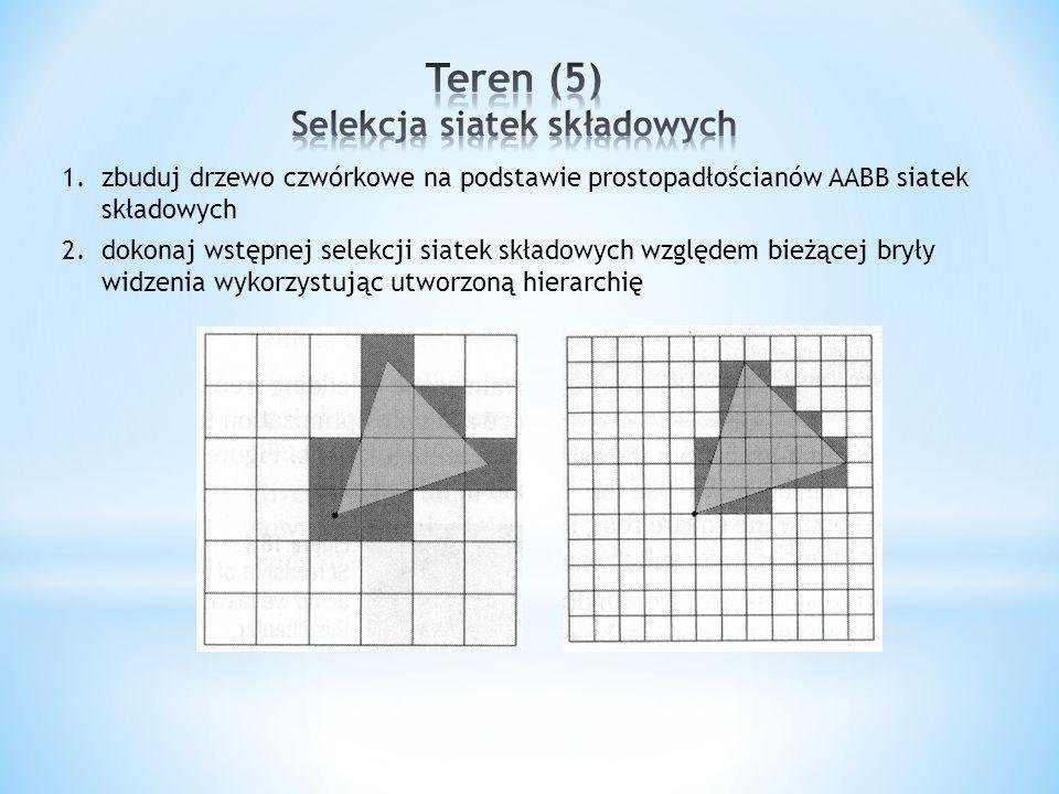1.zbuduj drzewo czwórkowe na podstawie prostopadłościanów AABB siatek składowych 2.dokonaj wstępnej selekcji siatek składowych względem bieżącej bryły widzenia wykorzystując utworzoną hierarchię