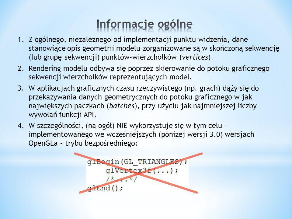 1.Z ogólnego, niezależnego od implementacji punktu widzenia, dane stanowiące opis geometrii modelu zorganizowane są w skończoną sekwencję (lub grupę s