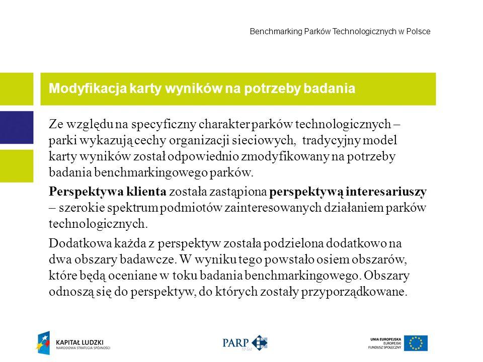 Modyfikacja karty wyników na potrzeby badania Benchmarking Parków Technologicznych w Polsce Ze względu na specyficzny charakter parków technologicznyc