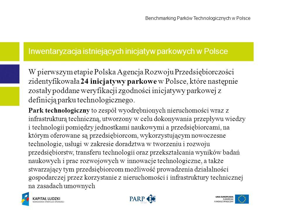 W pierwszym etapie Polska Agencja Rozwoju Przedsiębiorczości zidentyfikowała 24 inicjatywy parkowe w Polsce, które następnie zostały poddane weryfikac