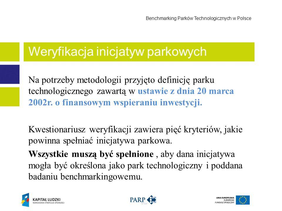 Na potrzeby metodologii przyjęto definicję parku technologicznego zawartą w ustawie z dnia 20 marca 2002r. o finansowym wspieraniu inwestycji. Kwestio