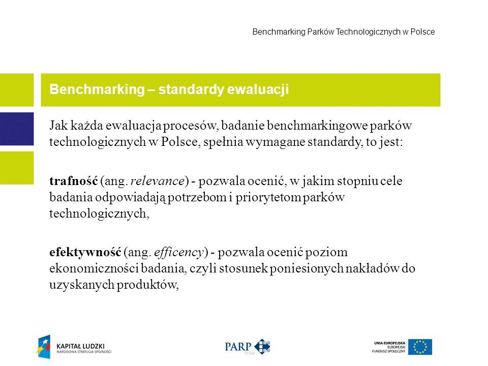 Jak każda ewaluacja procesów, badanie benchmarkingowe parków technologicznych w Polsce, spełnia wymagane standardy, to jest: trafność (ang. relevance)