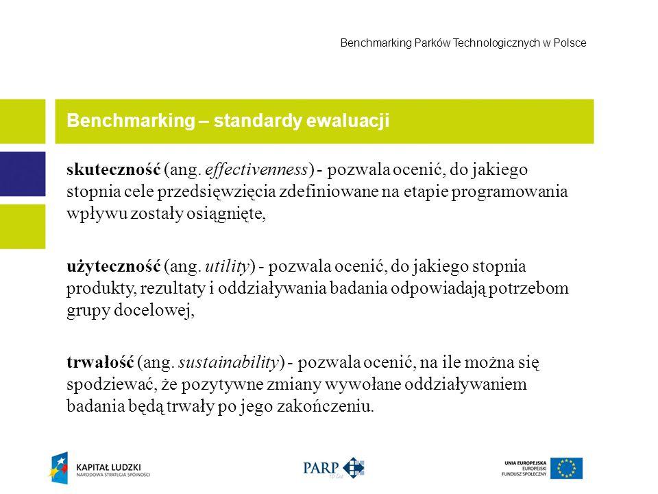 Benchmarking – standardy ewaluacji Benchmarking Parków Technologicznych w Polsce trafność (ang.