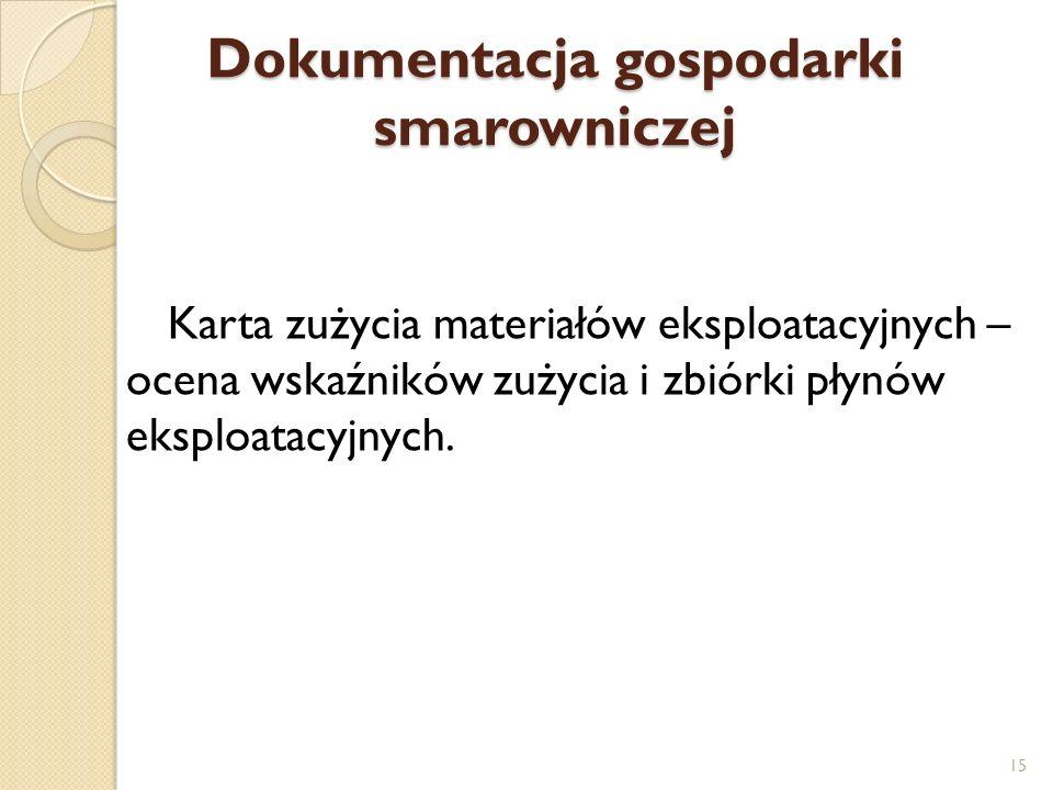 Dokumentacja gospodarki smarowniczej Karta zużycia materiałów eksploatacyjnych – ocena wskaźników zużycia i zbiórki płynów eksploatacyjnych. 15