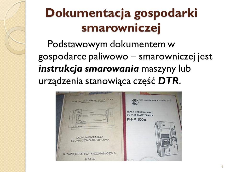 Dokumentacja gospodarki smarowniczej Podstawowym dokumentem w gospodarce paliwowo – smarowniczej jest instrukcja smarowania maszyny lub urządzenia sta