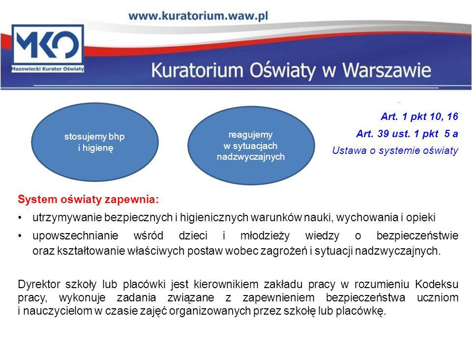 Art. 1 pkt 10, 16 Art. 39 ust. 1 pkt 5 a Ustawa o systemie oświaty System oświaty zapewnia: utrzymywanie bezpiecznych i higienicznych warunków nauki,