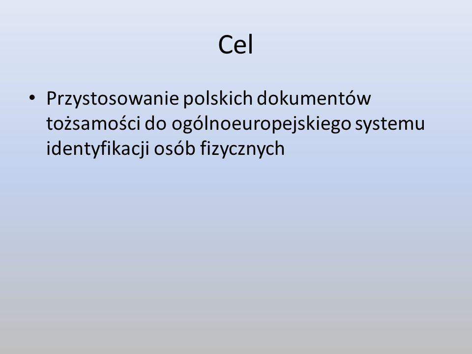 Cel Przystosowanie polskich dokumentów tożsamości do ogólnoeuropejskiego systemu identyfikacji osób fizycznych