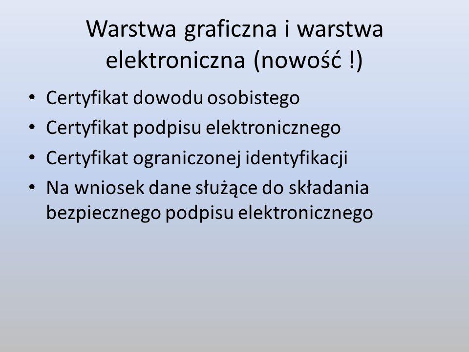 Warstwa graficzna i warstwa elektroniczna (nowość !) Certyfikat dowodu osobistego Certyfikat podpisu elektronicznego Certyfikat ograniczonej identyfik
