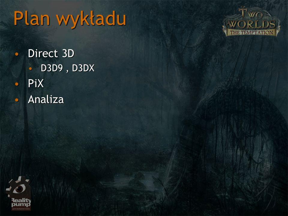 Direct 3DDirect 3D D3D9, D3DXD3D9, D3DX PiXPiX AnalizaAnaliza Plan wykładu
