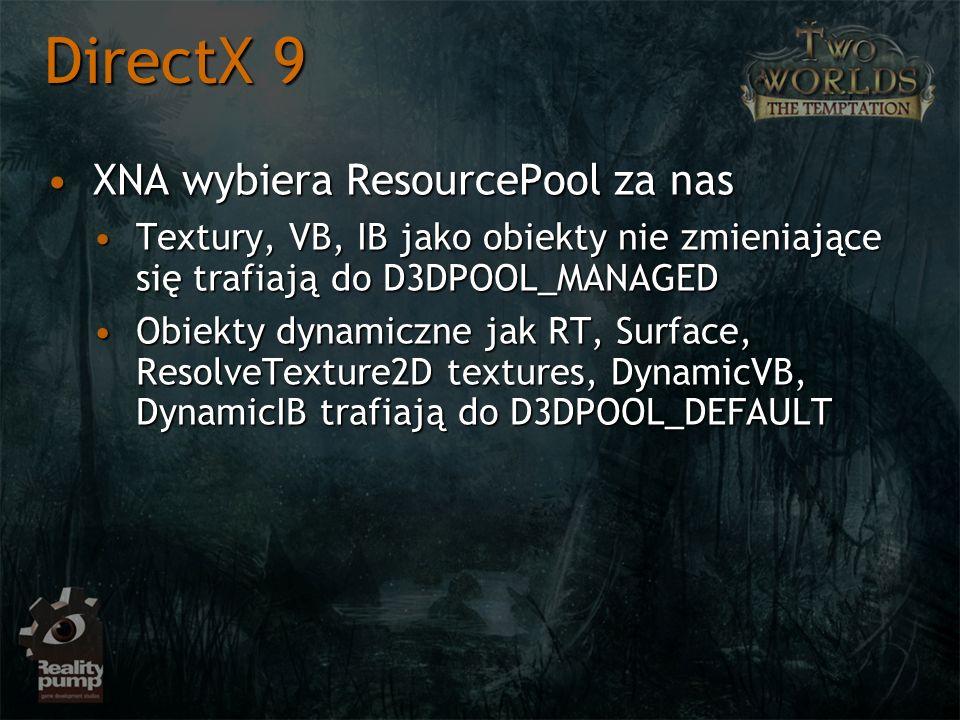 XNA wybiera ResourcePool za nasXNA wybiera ResourcePool za nas Textury, VB, IB jako obiekty nie zmieniające się trafiają do D3DPOOL_MANAGEDTextury, VB, IB jako obiekty nie zmieniające się trafiają do D3DPOOL_MANAGED Obiekty dynamiczne jak RT, Surface, ResolveTexture2D textures, DynamicVB, DynamicIB trafiają do D3DPOOL_DEFAULTObiekty dynamiczne jak RT, Surface, ResolveTexture2D textures, DynamicVB, DynamicIB trafiają do D3DPOOL_DEFAULT DirectX 9