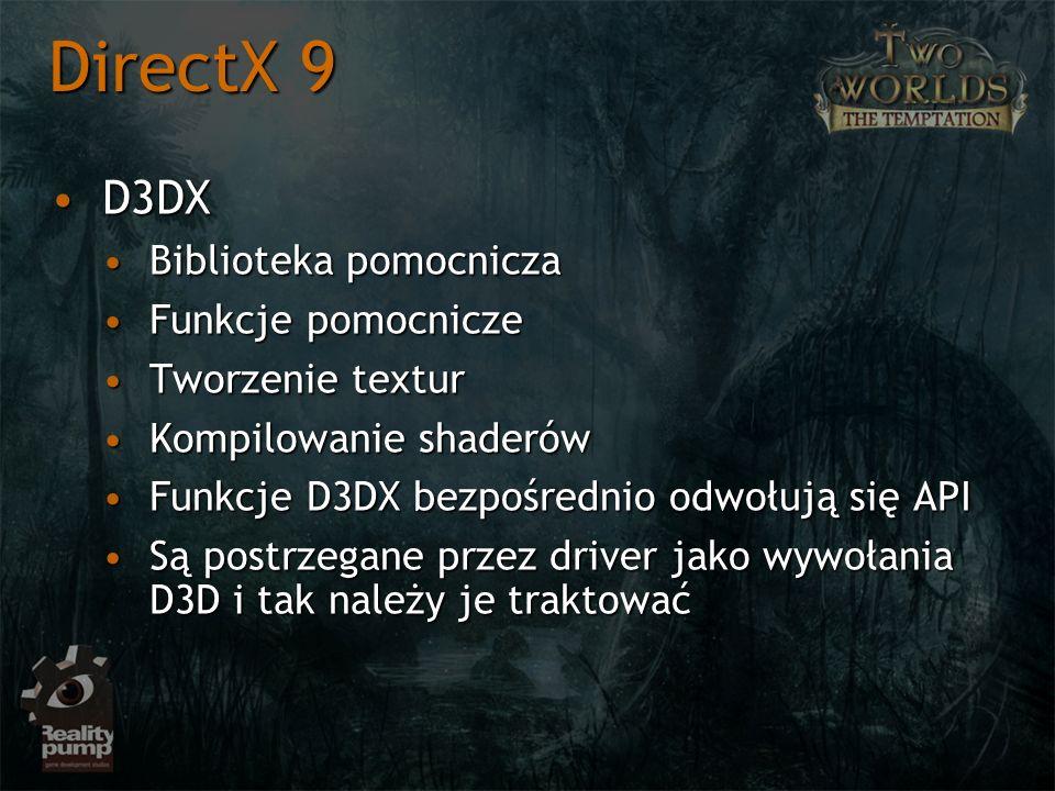 D3DXD3DX Biblioteka pomocniczaBiblioteka pomocnicza Funkcje pomocniczeFunkcje pomocnicze Tworzenie texturTworzenie textur Kompilowanie shaderówKompilowanie shaderów Funkcje D3DX bezpośrednio odwołują się APIFunkcje D3DX bezpośrednio odwołują się API Są postrzegane przez driver jako wywołania D3D i tak należy je traktowaćSą postrzegane przez driver jako wywołania D3D i tak należy je traktować DirectX 9